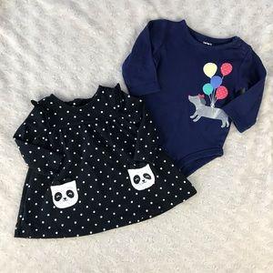 Carter's Panda Bear Polka Dot Dress & Dog Shirt